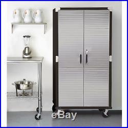 Metal Rolling Garage Tool File Storage Cabinet Stainless Steel Doors Black