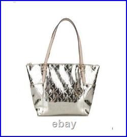 Michael Kors Jet Set East West Mirror Pale Gold Metallic Patent Leather Tote NWT