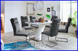 ModaNuvo White High Gloss Stainless Steel Extending Rectangle Dining Table