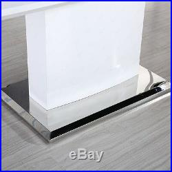 Modern Extendable Dining Table High Gloss White MDF with Stainless Pedestal Base