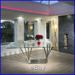 Modern Large 10 Seater Glass Stainless Steel Dining Table 240 x 110cm
