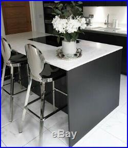 Modern Luxury Kardashian Style Chrome Silver Stainless Steel Breakfast Bar Stool