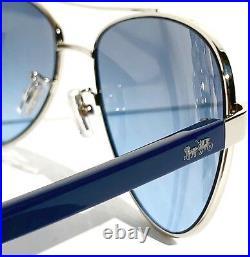 NEW COACH HC7077 SILVER & Blue 58mm Aviator Blue Lens Sunglass L1015