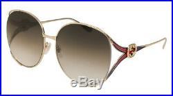 NEW Gucci GG 0225S Sunglasses 002 Gold 100% AUTHENTIC