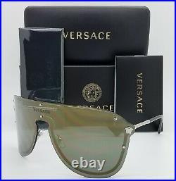 NEW Versace sunglasses VE2180 10005A 44 Dark Grey Gold Mirror AUTHENTIC Shield