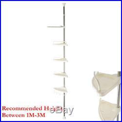 New 4 Tier NoRust S/S Bathroom Telescopic Corner Shelf Shower Storage Caddy Pole