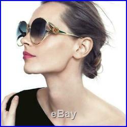 New Authentic Gucci GG0225S 004 Gold Blue Oversize Women Sunglasses