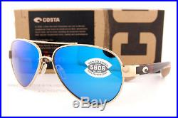 New Costa Del Mar Sunglasses LORETO Rose Gold Tortoise Blue Mirror 580G Polarize