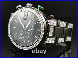 New Custom Mens Diamond Gucci Ya101331 Watch 6.5 Ct Sides And Band