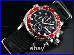 New Deep Blue 40mm Diver 1000 Quartz Chronograph Black Red Sapphire Ss Watch