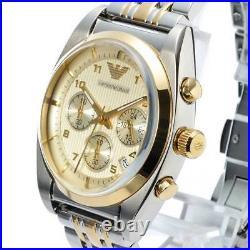 New Emporio Armani Men's Watch Ar0396 Chrono Coa 2 Y. Warranty, Next Day Deli