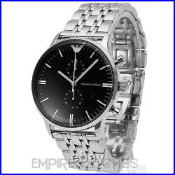 New Mens Emporio Armani Gianni Black Steel Watch Ar0389 Rrp £379.00