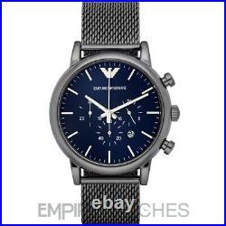 New Mens Emporio Armani Luigi Grey Mesh Steel Watch Ar1979 Rrp £299.00