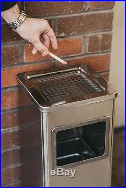 New Metal Litter Rubbish Bin Cigarette Smoking Ash Tray Outdoor Stainless Steel
