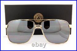 New VERSACE Sunglasses VE 2174 1002/Z3 Polarized Gold/Grey Silver Mirror for Men