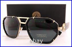 New VERSACE Sunglasses VE 2228 1002/87 Black/Dark Grey for Men Women