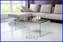 Nova Modern Stylish Curved Clear Glass Table Coffee Table Living Room Furniture