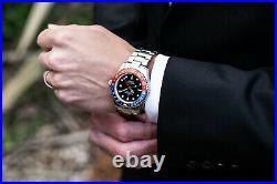 Oceaneva Men's Deep Marine Explorer GMT 1250M Pro Diver Watch Blue and Red