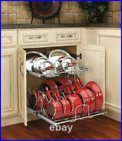 Pots Pans Lids Rack Kitchen Cabinet Organizer Cookware 2 Tier Pull Out Holder