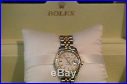 Pre Owned Rolex Oyster Perpetual Datejust Bi Metal Diamond Ladies Watch 179173