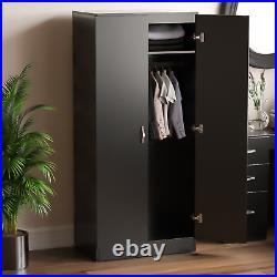 Riano 2 Door Wardrobe Bedroom Storage Solid Wood shelf Rail Furniture Black