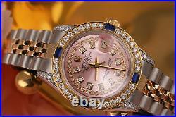 Rolex 26mm Datejust Metallic Pink String Diamond Dial with Sapphire & Diamond