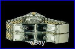 Rolex Men's 36mm Datejust 16013 Two-Tone MOP Diamond Sapphire Gold Fluted Bezel