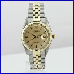 Rolex Watch Men's Vintage Datejust Two-Tone Champagne Stick Dial Gold Bezel