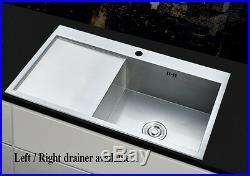 SQuare 1.0 Large Bowl Kitchen Sink Stainless steel LH / RH Drainer Handmade Sink