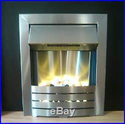 Silver Steel Electric Wall Inset Fire 2kw Pebble Bed Fireplace Suite Insert