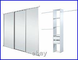 Sliding Wardrobe Doors (Mirrored x 3) & Storage. Up to 2692mm (8ft 10ins) wide