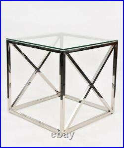 Square Glass Side Table Chrome Stainless Steel Modern Tempered Glass Living Room