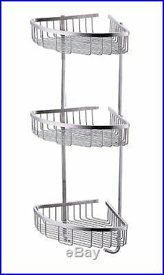Stainless Steel Shower Caddy Rust Free Bathroom Shelf Corner Organizer Basket