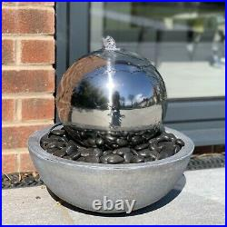 Stainless Steel Sphere in Bowl Patio Garden Water Feature with LED Lights