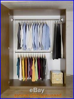 Telescope Garment Clothes Closet System Tops Adjustable Rods Storage Organiser