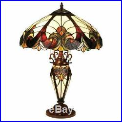 Tiffany Style Victorian Theme Stained Glass Double Lit Table Accent Reading Lamp
