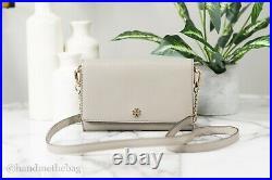 Tory Burch (52899) Emerson Leather French Gray Chain Wallet Crossbody Handbag