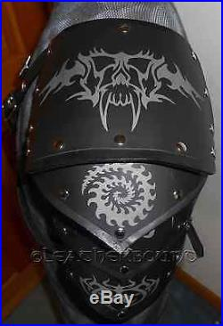 Tribal Engraved Metal and Leather Armor Pauldrens with Bracers LARP SCA, Cosplay