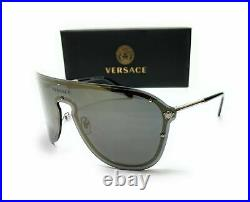 VERSACE VE2180 10005A Silver Grey Mirror Lens Women's Pilot Sunglasses 44mm