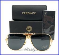 VERSACE VE2212 100287 Gold / Gray 57mm Sunglasses
