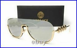 VERSACE VE2215 12526G Pale Gold Light Grey Mirror Women's Sunglasses 39 mm