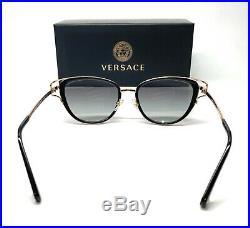 Versace VE2203 143811 Black Gold Grey Grad Lens Women Cat Eye Sunglasses 53mm