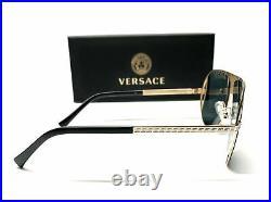 Versace VE2212 100287 Gold Grey Lens Men's Pilot Sunglasses 57mm