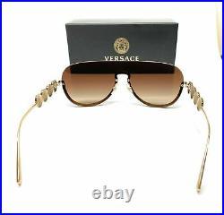 Versace VE2215 100213 Gold Brown Gradient Women's Pilot Metal Sunglasses 39 mm