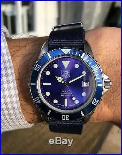 Vintage 80's Tag Heuer 1000 diver 200 meters 980.613 Unique Metallic Blue