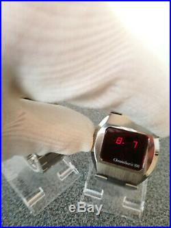 Vintage Compuchron metall tone GREEN + RED LED Mens Watch, MINT