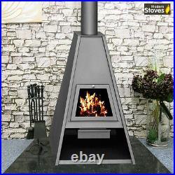 Wood Burning Multi-Fuel Stove Contemporary Delta Ideal Outdoor Patio Log Burner