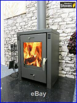 Wood Burning Multi Fuel Stove, VERONA Lux 12kw Wood Burner Modern Stoves