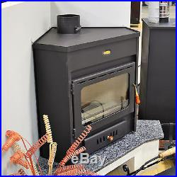 Wood Burning Stove Corner Model Log Burner Solid Fuel 12kw Prity AMB