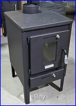 Wood Burning Stove Log Burner Fireplace Mini 8kw with Steel Lid and Flap Hera